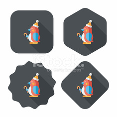 penguin flat icon with long shadow,eps10