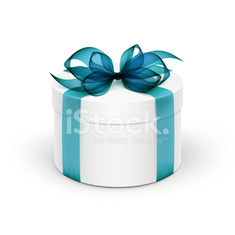White Round Gift Box with  Blue Ribbon and Bow Isolated