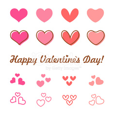 Valentines Day heart vector icon set