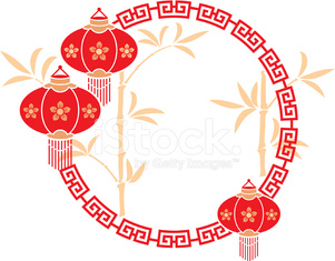Chinese Frame with Lanterns and Bamboo Background
