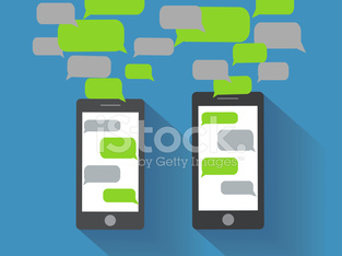 Smartphones with blank speech bubbles