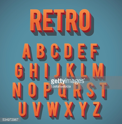 Retro 3D Alphabet Set