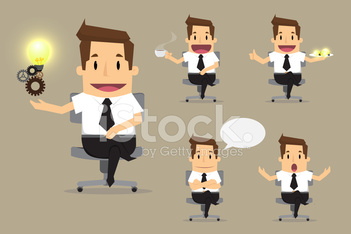 set of cute characters businessman