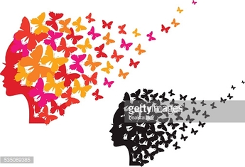 woman with flying butterflies, vector