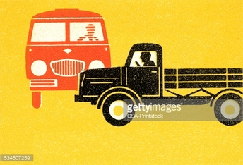 Bus and truck passing