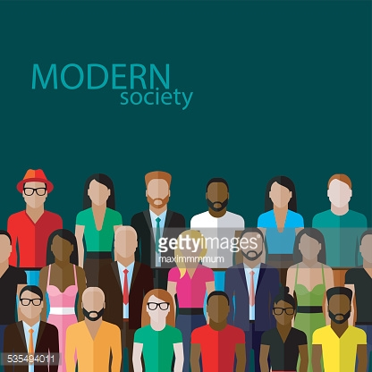 vector flat  illustration of society members with a large group