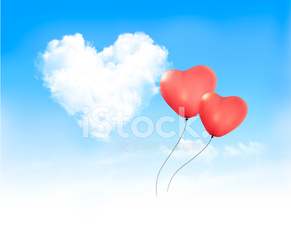 Holiday background with heart shape of cloud