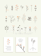 Collection of branches and flowers plus 3 romantic invitations.