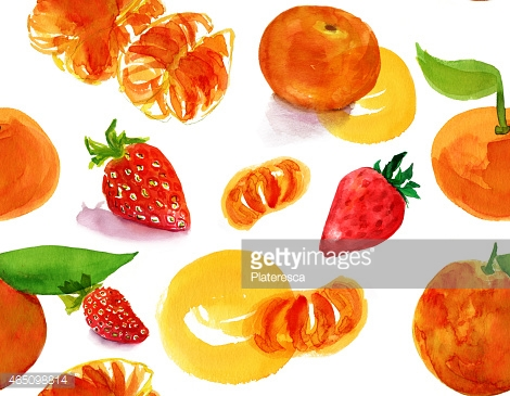Seamless watercolor tangerine and strawberry pattern