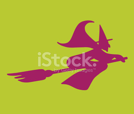 Silhouette of a Witch on Broom