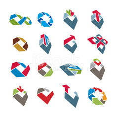 Abstract creative icons vector collection, design elements set.