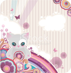 cartoon background with flowers and kitty