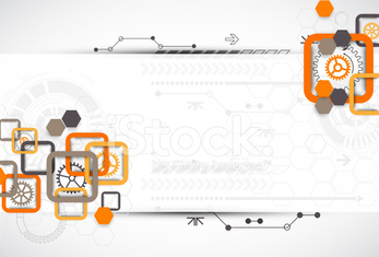 Abstract technology square background with cogwheels