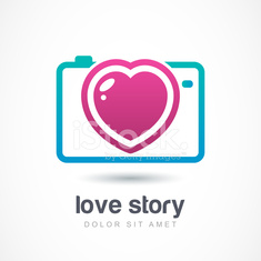 Abstract colorful photo camera with heart lens. Vector logo icon