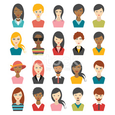 Big set of multi color people heads. avatr profile illustrations.