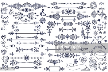 Doodle border,decor element,snowflakes.Winter love