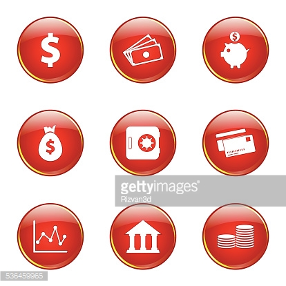 Financial Banking Red Vector Button Icon Design Set