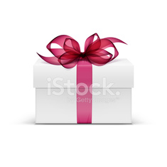 Vector Box with Red Ribbon and Bow Isolated on Background