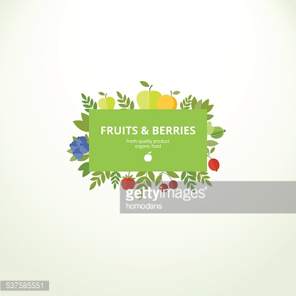 Label with fresh fruits and berries