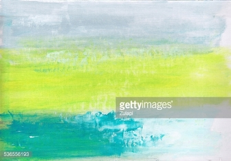 Abstract Fresh Green, Blue and Grey Painting