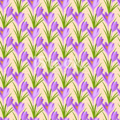 Easter seamless pattern with crocuses.