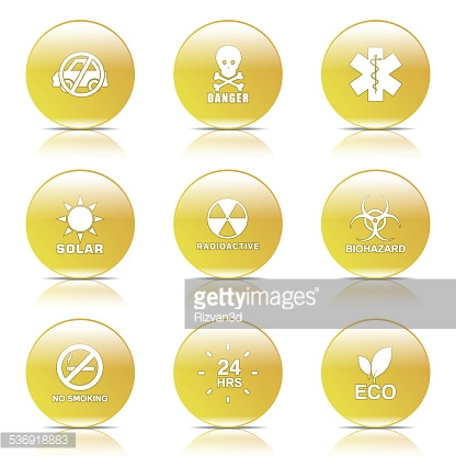 Warning Sign Yellow Vector Button Icon Design Set