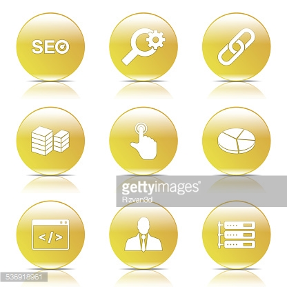 SEO Internet Sign Yellow Vector Button Icon Design Set 11