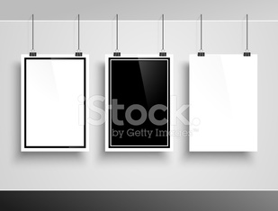 Photo frame on white wall. Vector
