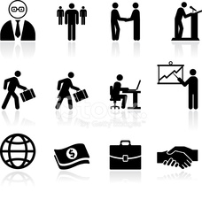 business finance black and white royalty free vector art set