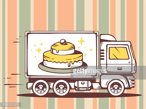 Vector illustration of truck free and fast delivering cake