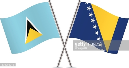 Saint Lucia and Bosnia and Herzegovina flags. Vector.