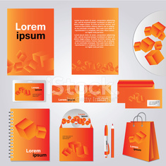 Architectural corporate identity template with cube element