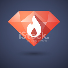 Diamond icon with a flame