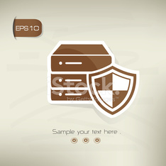 Database security design on brown background,clean vector