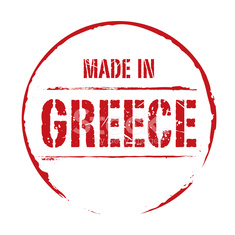 Red vector grunge stamp MADE IN GREECE