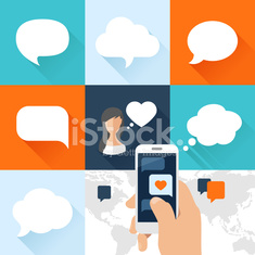 Speech bubbles set and smartphone with love message in flat