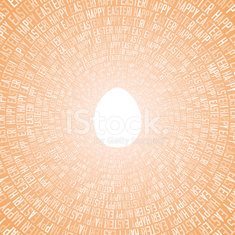 Happy Easter Greeting Card With Text in Circles plus Sunny