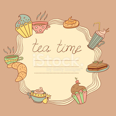 Tea time vector frame.