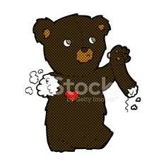 comic cartoon teddy black bear with torn arm