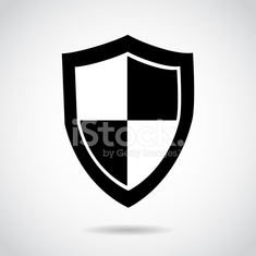Shield icon isolated on white background.