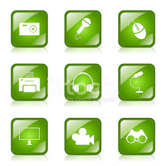 Electronic Equipment Square Vector Green Icon Design Set