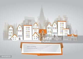 City background made of paper stickers effect