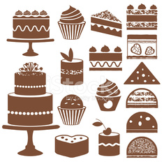 Cakes and cupcakes silhouette icons