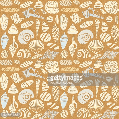 Sea shells and rocks seamless pattern on paper textured background