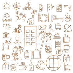 Hand drawn hotel and tourism related symbols
