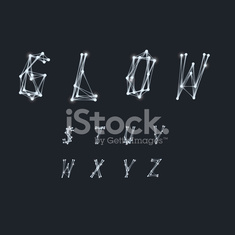 Abstract Alphabet made of transparent white lines
