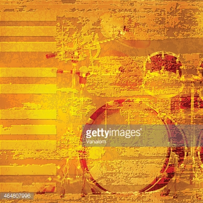 abstract grunge piano background with drum kit