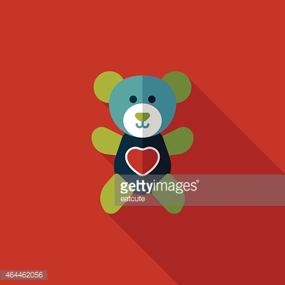 Valentine's day present bear flat icon with long shadow,eps10
