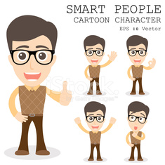 Smart people cartoon character eps 10 vector illustration