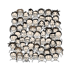 Group of people, sketch for your design